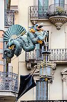 Spain, Barcelona. La Rambla is a street in central Barcelona.