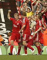 Photo: Aidan Ellis.<br /> Liverpool v Wigan Athletic. The Barclays Premiership. 21/04/2007.<br /> Liverpool's Dirk Kuyt celebrates his second goal