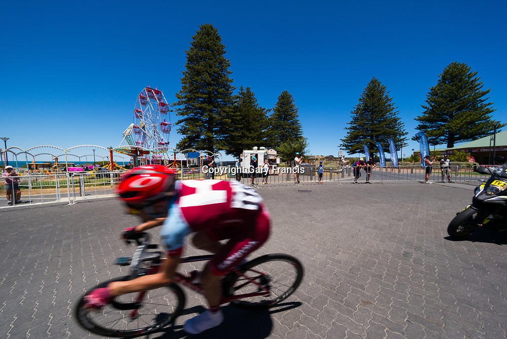 Tiago Machado of Team Katusha Alpencin start the final loop and in the lead just behind the peloton Stage 3, Glenelg to Victor Harbor, of the Tour Down Under, Australia on the 18 of January 2018 ( Credit Image: © Gary Francis / ZUMA WIRE SERVICE )