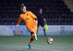 WIDNES, ENGLAND - Wednesday, February 7, 2018: Arsenal Ladies's goalkeeper Sari van Veenendaal during the FA Women's Super League 1 match between Liverpool Ladies FC and Arsenal Ladies FC at the Halton Stadium. (Pic by David Rawcliffe/Propaganda)
