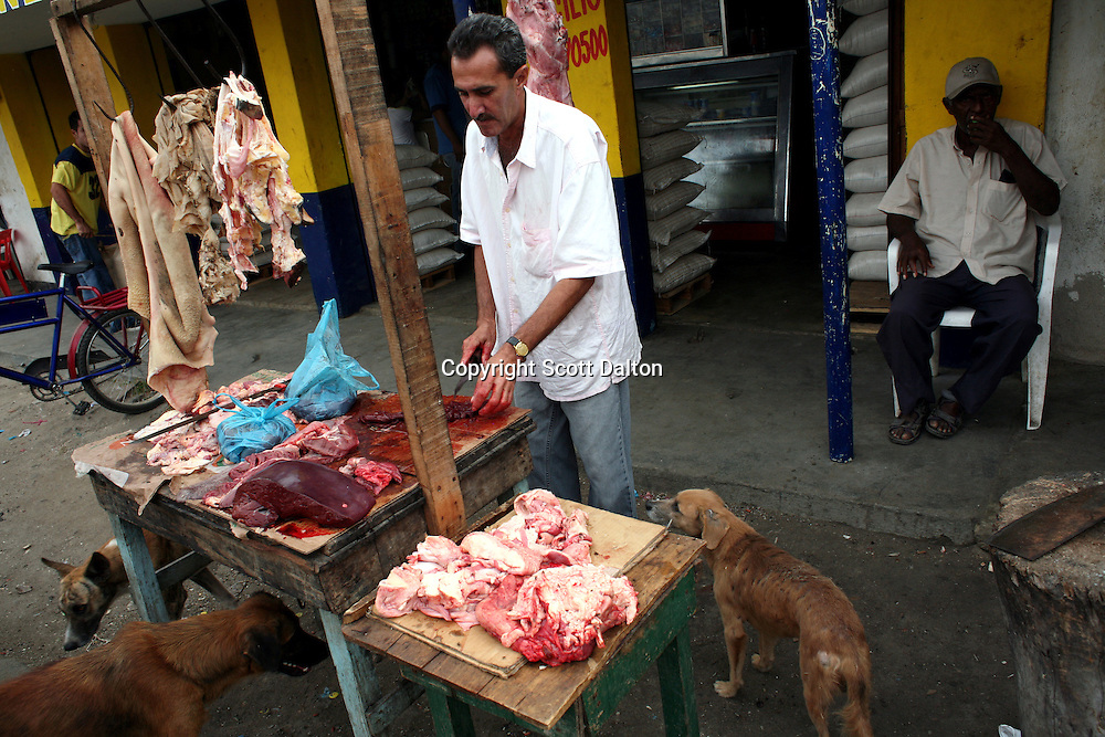 A butcher chops meat as eager dogs lurk at the local market in Aracataca on Monday, January 29, 2007.  Aracataca is the hometown of Garcia Marquez, the famed Colombian author most noted for his novel One Hundred Years of Solitude and also the winner of the Nobel Prize for literature. (Photo/Scott Dalton)
