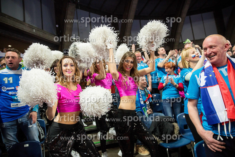 Cheerleaders and Supporters of Slovenia during handball match between National teams of Slovenia and Spain on Day 4 in Preliminary Round of Men's EHF EURO 2016, on January 18, 2016 in Centennial Hall, Wroclaw, Poland. Photo by Vid Ponikvar / Sportida