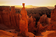 "Sunrise lights the ""Thor's Hammer"" hoodoo in Bryce Canyon National Park, Utah."