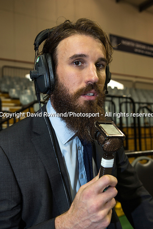 Sky Television Commentator Casey Frank at the SkyCity Breakers v Cairns Taipans, 2014/15 ANBL Basketball Season, North Shore Events Centre, Auckland, New Zealand, Thursday, October 23, 2014. Photo: David Rowland/Photosport