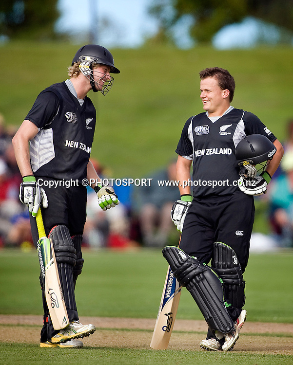 New Zealand final batsman to finish off the win, Harry Boam and with his helmet off New Zealand captain Craig Cachopa. New Zealand v Sri Lanka, U19 Cricket World Cup group stage match, Village Green, QEII, Christchurch, Wednesday 20 January 2010. Photo : Joseph Johnson/PHOTOSPORT