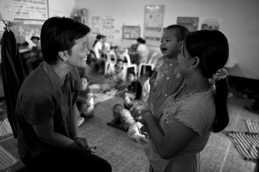 Kanchana Thornton assesses day patients at the Mae Tao Clinc in Mae Sot. The Mae Tao Clinic (MTC), founded and directed by Dr. Cynthia Maung, provides free health care for refugees, migrant workers, and other individuals who cross the border from Burma to Thailand in search of of medical treatment.