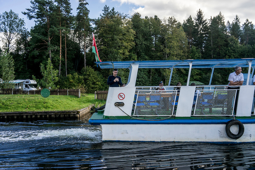 A tourist boat passes through a lock in the Augustów Canal on Saturday, September 17, 2016 in Grodno, Belarus.