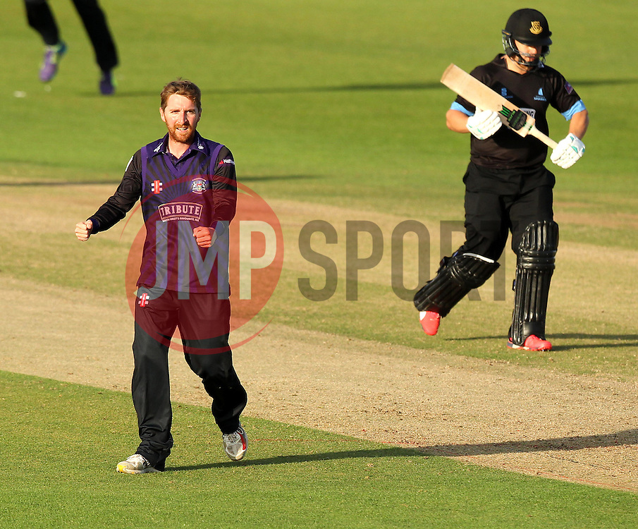 Gloucestershire's Tom Smith celebrates the wicket of Sussex's Craig Cachopa - Photo mandatory by-line: Robbie Stephenson/JMP - Mobile: 07966 386802 - 26/06/2015 - SPORT - Cricket - Bristol - The County Ground - Gloucestershire v Sussex - Natwest T20 Blast
