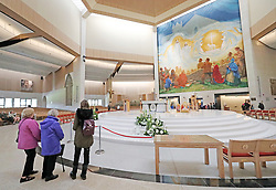 People visit the basilica in Knock Shrine in Co Mayo, where Pope Francis will visit later this month.