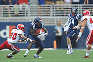 Mississippi Rebels wide receiver Vince Sanders (10) vs. Louisiana-Lafayette Ragin Cajuns cornerback Dominick Jones (20) at Vaught-Hemingway Stadium in Oxford, Miss. on Saturday, September 13, 2014. Ole Miss won 56-15 to improve to 3-0.