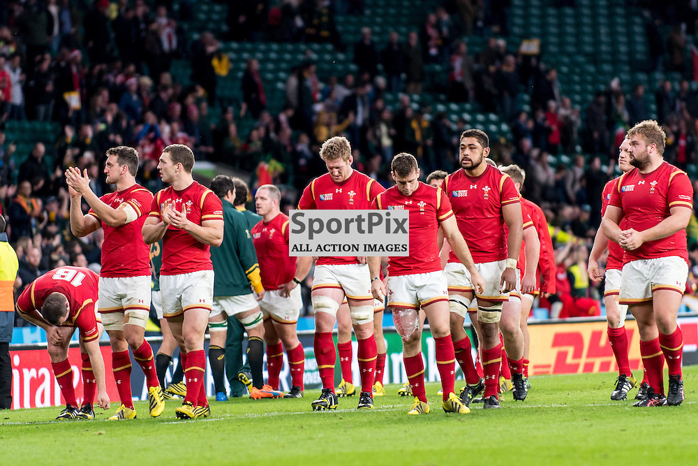 Devastated Welsh players led by captain Sam Warburton. Action from the South Africa v Wales quarter final game at the 2015 Rugby World Cup at Twickenham in London, 17 October 2015. (c) Paul J Roberts / Sportpix.org.uk