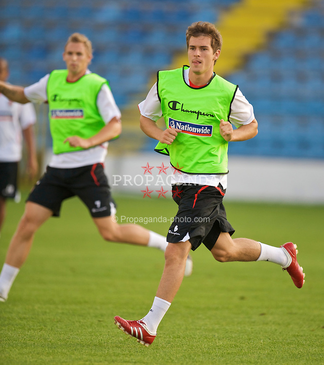 PODGORICA, MONTENEGRO - Tuesday, August 11, 2009: Wales' Aaron Ramsey during a training session at the Gradski Stadion ahead of the international friendly match against Montenegro. (Photo by David Rawcliffe/Propaganda)