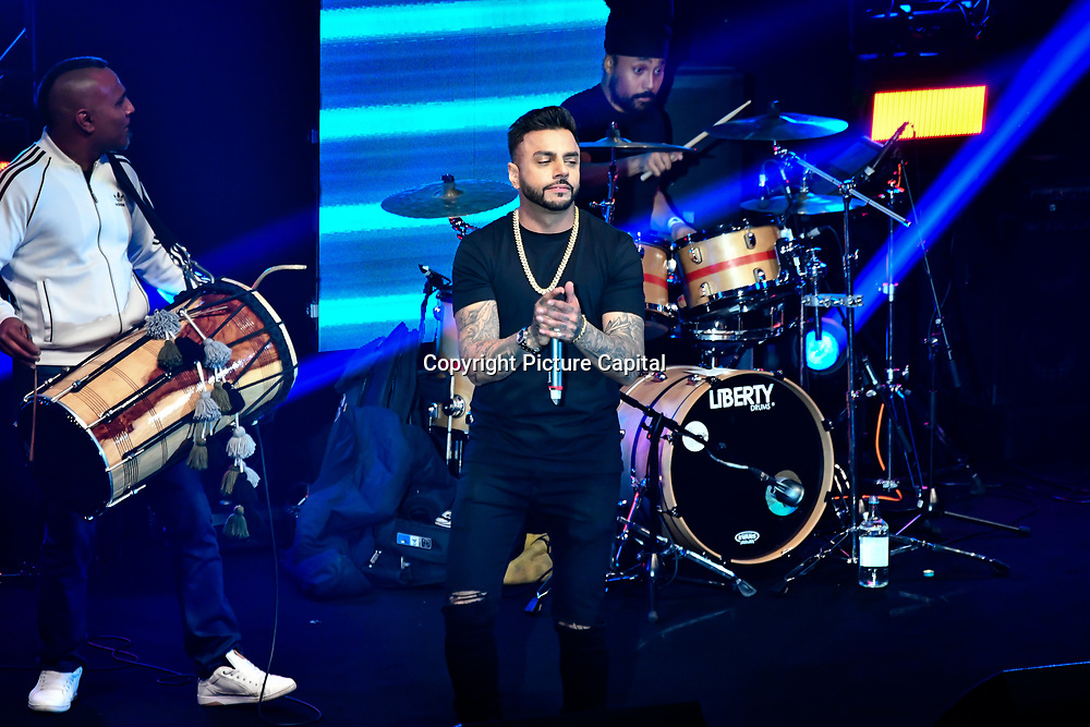Juggy D preforms at the BritAsiaTV Presents Kuflink Punjabi Film Awards 2019 at Grosvenor House, Park Lane, London,United Kingdom. 30 March 2019