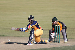 Mangaliso Mosehle of Gauteng attempts to sweep a delivery during the Africa T20 cup pool D match between Boland and Gauteng held at the Boland Park cricket ground in Paarl on the 25th September 2016.<br /> <br /> Photo by: Shaun Roy/ RealTime Images