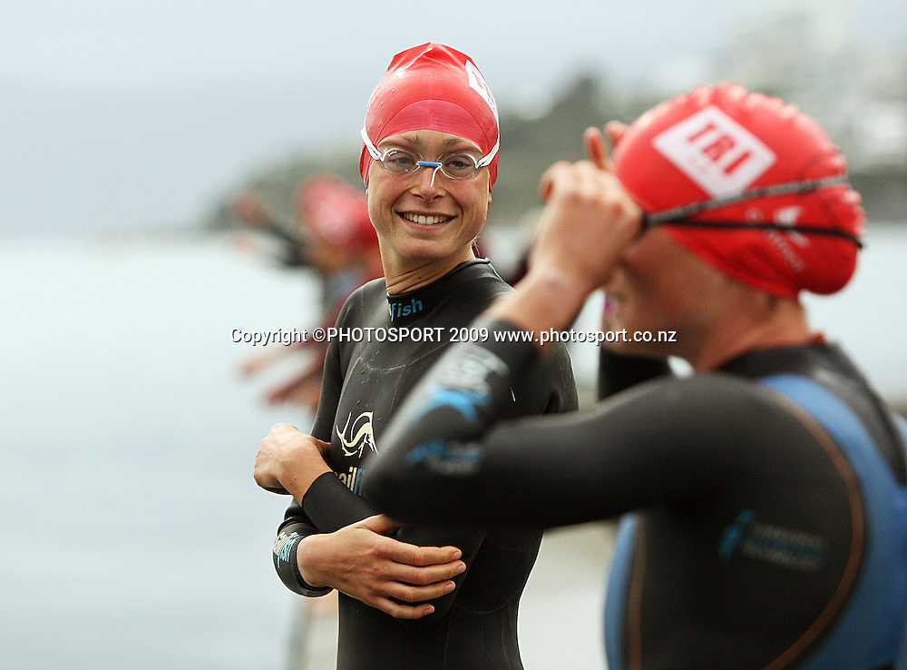 Lena Brunkhorst (Germany) chats to Nicky Samuels (NZ) before the Contact Cup women's race.<br /> Contact Tri-Series National Triathlon Championships and ITU Oceania Cup at Wellington Waterfront, Wellington , New Zealand. Saturday 7 March 2009. Photo: Dave Lintott/PHOTOSPORT