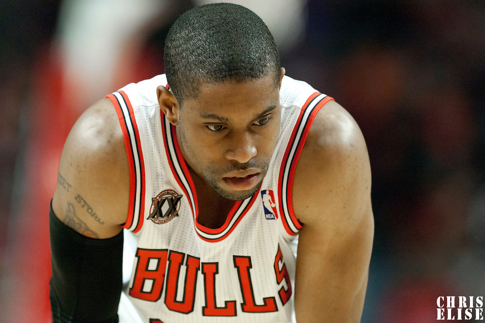 04 May 2011: Chicago Bulls point guard C.J. Watson (32) rests during the Chicago Bulls 86-73 victory over the Atlanta Hawks, during game 2 of the Eastern Conference semi finals at the United Center, Chicago, Illinois, USA.
