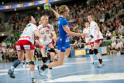 Barbara Lazovic-Verlec #15 of Krim during handball match between RK Krim Mercator (SLO) and Larvik HK (NOR) in second game of semi final of EHF Women's Champions League 2012/13 on April 13, 2013 in Arena Stozice, Ljubljana, Slovenia. (Photo By Urban Urbanc / Sportida).