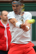 Paris, France. Roland Garros. June 9th 2013.<br /> Men's final. <br /> Spanish player Rafael NADAL against David FERRER