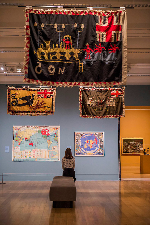 The Mapping and Marking Room includes maps and 'adapted' flags from around the Empire - Artist and Empire - a new Tate Britain exhibition about Imperial visual culture, examining the people who helped to create or confront the British Empire in their art. It features over 200 paintings, drawings, photographs, sculptures and artefacts from across the British Isles, North America, the Caribbean, the Pacific, Asia and Africa. Exhibition highlights include: Major historic paintings by the likes of Johan Zoffany, George Stubbs, Lady Butler Anthony Van Dyck and Thomas Daniell; Rare Maori portraits which are being exhibited in London for the first time in almost 100 years; The first chance to photograph one of the nation's favourite paintings, The North-West Passage 1874 by John Everett Millais since undergoing new conservation; and new work by artist Andrew Gilbert, made especially for the exhibition. Artist and Empire at Tate Britain from 25 November 2015 to 10 April 2016.