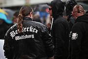Frankfurt am Main | 20 Jun 2015<br /> <br /> Kundgebung der islamfeindlichen Gruppe &quot;Widerstand Ost West&quot; (WOW) um Ester Seitz, die Rechtspopulisten, rechte Hooligans und Neonazis vereint, auf dem Rossmarkt.<br /> Hier: Hooligans der &quot;Berserker Wolfsburg&quot;.<br /> <br /> Photo &copy; peter-juelich.com
