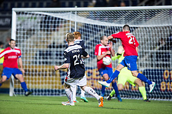Falkirk's Liam Rowan has a shot.<br /> Falkirk beat Cowdenbeath in a penalty shoot-out, second round League Cup tie played at The Falkirk Stadium.