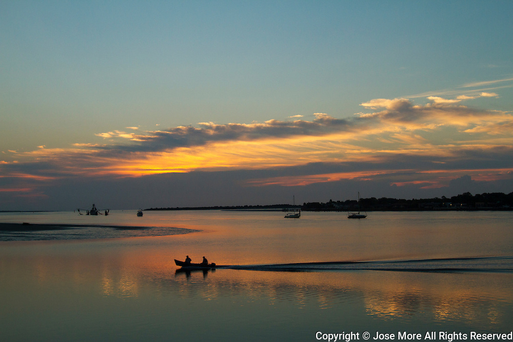 Sunrise at Matanzas Bay, St. Augustine, the oldest continuously occupied European-established settlement and port in the continental United States. Founded in September 1565 by Spanish admiral Pedro Men&eacute;ndez de Avil&eacute;s, serving as the capital of Spanish Florida for two hundred years. <br /> Photography by Jose More