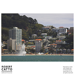 Oriental Bay with fountain seen from Lambton Harbour, Wellington, New Zealand.<br />