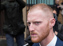 © Licensed to London News Pictures. 13/02/2018. Bristol, UK.  England cricketer BEN STOKES leaves Bristol magistrates' court today after pleading not guilty to charges of affray that relate to a fight outside a Bristol nightclub on September 25 2017. Stokes is hoping to be permitted to fly out to join England's tour to New Zealand.  Photo credit: Simon Chapman/LNP
