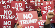 South Korean peace activists rally against visiting U.S. President Donald Trump near the presidential Blue House where the summit between South Korean President Moon Jae-In and Trump was being held in Seoul, South Korea, Nov 7, 2017. Trump arrived in Seoul on Tuesday, Nov 7 on a state visit, becoming the first U.S. president to do so in 25 years. He will leave to China on Wednesday, Nov 8 after giving a special speech at the South Korean parliament, becoming the first U.S. president to do so in 24 years. The two leaders agreed to completely remove the limit on the payload of South Korean ballistic missiles and discuss South Korea's introduction of nuclear-powered submarines and other advanced weapons, local media reported. Photo by Lee Jae-Won (SOUTH KOREA) www.leejaewonpix.com