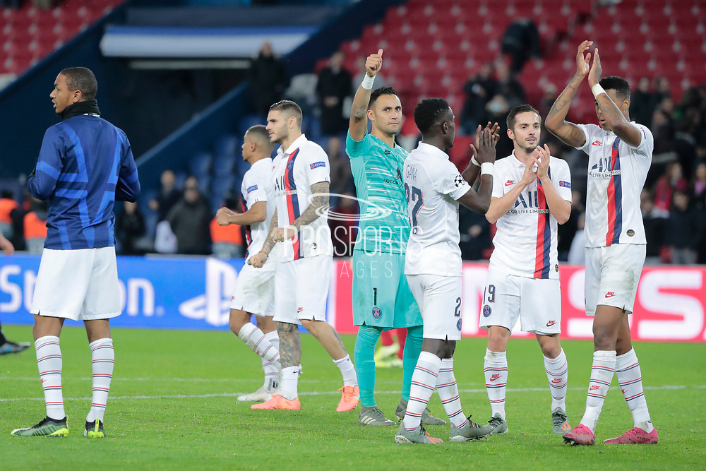 Keylor NAVAS (PSG) greeted supporters, Mauro ICARDI (PSG), Idriss GUEYE (PSG), Pablo SARABIA (PSG), Fresnel Kimpembe (PSG) during the UEFA Champions League, Group A football match between Paris Saint-Germain and Club Brugge on November 6, 2019 at Parc des Princes stadium in Paris, France - Photo Stephane Allaman / ProSportsImages / DPPI