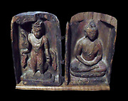 Diptych of the Buddha Cakyamuni assisted by Avalokitesvara. This object served as a portable chapel. 7th century - early 8th century Polychrome on wood. Dunhuang Caves China