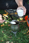 Cooking (Turkish or Greek) coffee outdoors