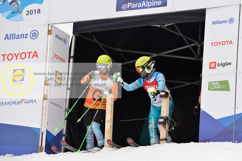 YANG Jae Rim Guide: KO Un So Ri, B2, KOR at 2018 World Para Alpine Skiing Cup, Kranjska Gora, Slovenia