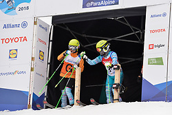 YANG Jae Rim Guide: KO Un So Ri, B2, KOR at 2018 World Para Alpine Skiing Cup, Kranjska Gora, Slovenia