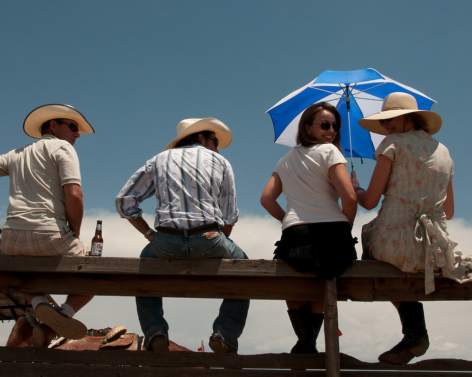 Rodeo spectators on the look out