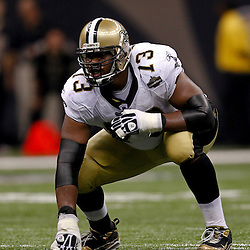 September 9, 2010; New Orleans, LA, USA; New Orleans Saints guard Jahri Evans (73) during the NFL Kickoff season opener at the Louisiana Superdome. The New Orleans Saints defeated the Minnesota Vikings 14-9.  Mandatory Credit: Derick E. Hingle