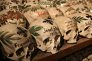 Austria, Upper Austria, Salzkammergut, Hallstatt. Painted skulls in the ossuary at Charnel House