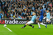 Sergio Aguero (10) of Manchester City has a goal ruled out for offside during the Carabao Cup Final match between Chelsea and Manchester City at Wembley Stadium, London, England on 24 February 2019.