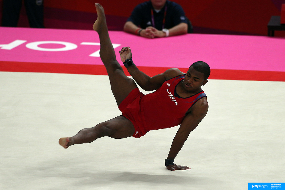 John Orozco, USA, performing his floor routine during the Men's Artistic Gymnastics podium training at North Greenwich Arena during the London 2012 Olympic games preparation at the London Olympics. London, UK. 25th July 2012. Photo Tim Clayton