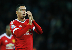 Chris Smalling of Manchester United applauds the fans at the final whistle  - Mandatory byline: Jack Phillips/JMP - 07966386802 - 28/11/2015 - SPORT - FOOTBALL - Leicester - King Power Stadium - Leicester City v Manchester United - Barclays Premier League