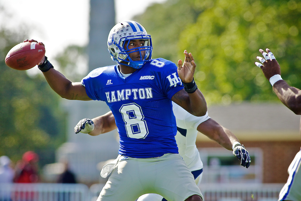 Oct 30, 2010; Hampton VA, USA; Hampton Pirates quaterback David Legree (8) throws a pass against the Old Dominion Monarchs at Armstrong Stadium. The Pirates lost 28-14. Mandatory Credit: Peter J. Casey