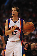 Apr 18, 2010; Phoenix, AZ, USA; Phoenix Suns guard Steve Nash (13)  during the first quarter in game one in the first round of the 2010 NBA playoffs at the US Airways Arena.  Mandatory Credit: Jennifer Stewart-US PRESSWIRE