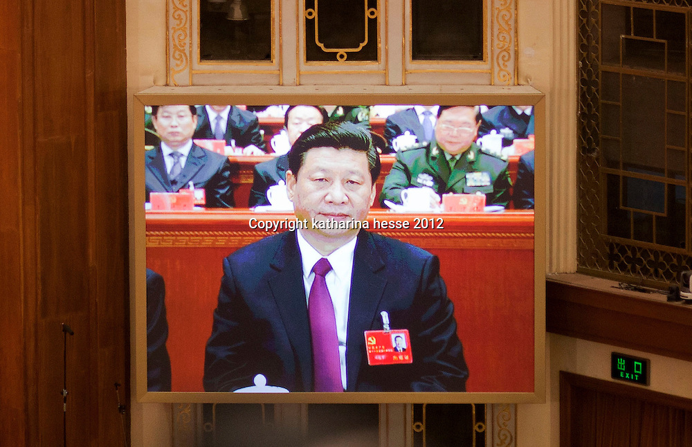 BEIJING, NOV 8, 2012 : Xi Jinping, 59, member of the standing committee of the Polit Bureau of the  Communist Party Of China , attends the 18th Party Congress of the CPC ( Communist Party Of China ). As of Nov. 15, 2012 Xi  replaced Hu Jintao as head of the Chinese Communist Party and the nation's military, ushering in the fifth generation of leaders.