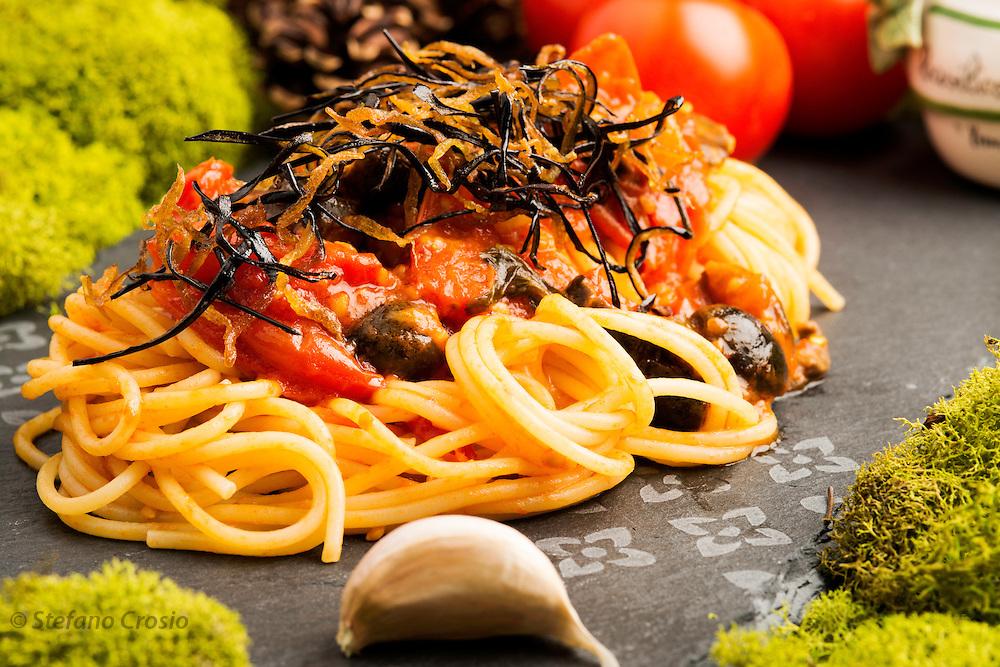 Tomato, olive and eggplant spaghetti