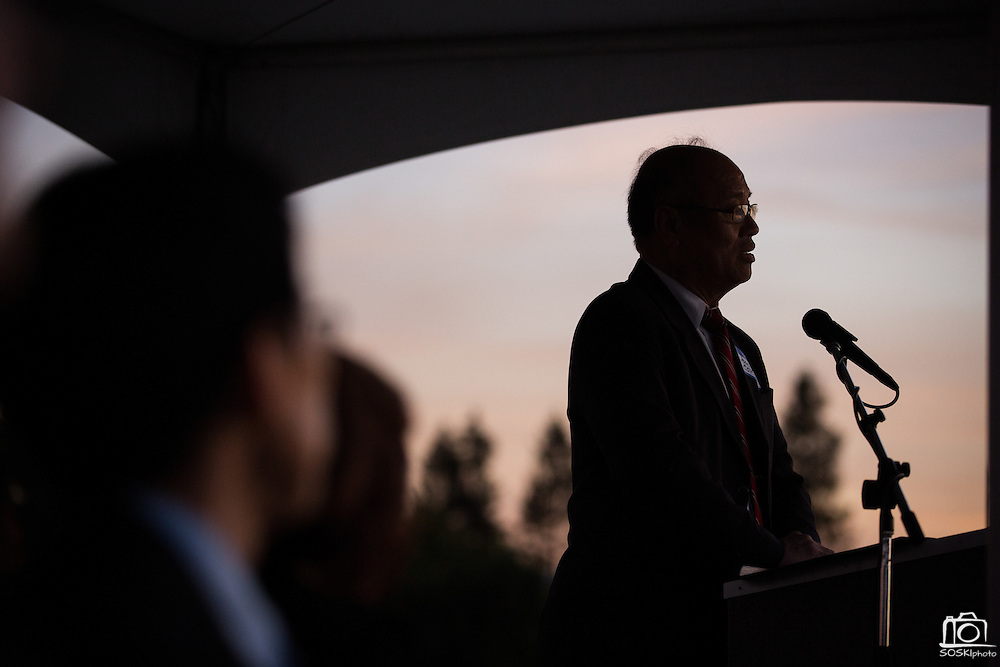 Milpitas Mayor Jose Esteves presents during the Milpitas Unified School District and San Jose Evergreen Community College District Community College Extension Ground Breaking Ceremony near Russell Middle School in Milpitas, California, on November 17, 2015. (Stan Olszewski/SOSKIphoto)