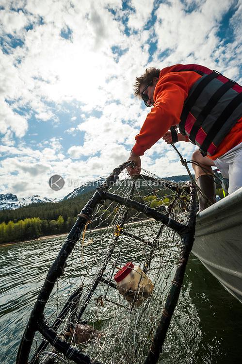 A man crab fishing near Juneau, Alaska.
