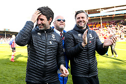 Lincoln City manager Danny Cowley and Lincoln City assistant manager Nicky Cowley Lincoln City celebrate winning promotion from Sky Bet League Two to Sky Bet League One - Mandatory by-line: Robbie Stephenson/JMP - 13/04/2019 - FOOTBALL - Sincil Bank Stadium - Lincoln, England - Lincoln City v Cheltenham Town - Sky Bet League Two
