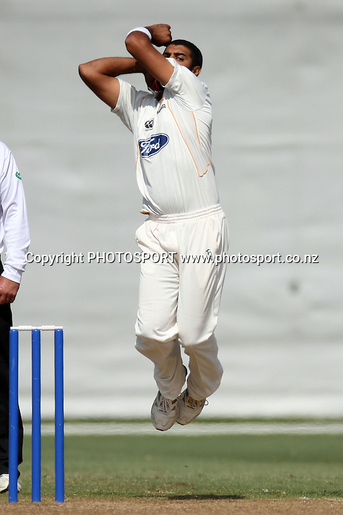 Jeetan Patel, Plunket Shield, 4 day domestic cricket. Auckland Aces v Wellington Firebirds, Colin Maiden Park, Auckland. 23 March 2011. Photo: William Booth/photosport.co.nz