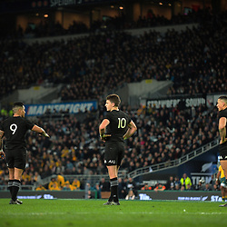 From left, Aaron Smith, Beauden Barrett and Sonny Bill Williams during the Rugby Championship and Bledisloe Cup rugby match between the New Zealand All Blacks and Australia Wallabies at Forsyth Barr Stadium in Dunedin, New Zealand on Saturday, 26 August 2017. Photo: Dave Lintott / lintottphoto.co.nz