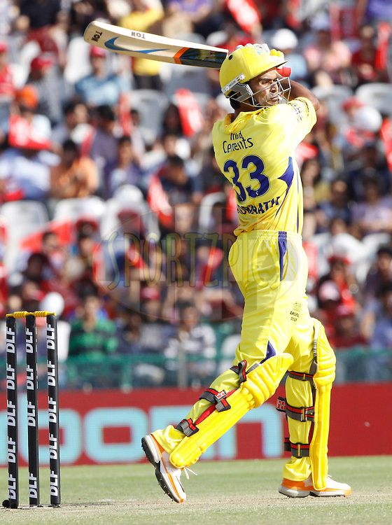 Chennai Super King player Subramaniam Badrinath plays a shot during match 9 of the Indian Premier League ( IPL ) Season 4 between the Kings XI Punjab and the Chennai Super Kings held at the PCA stadium in Mohali, Chandigarh, India on the 13th April 2011..Photo by Pankaj Nangia/BCCI/SPORTZPICS
